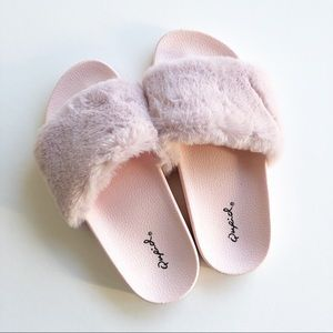baby pink furry slippers